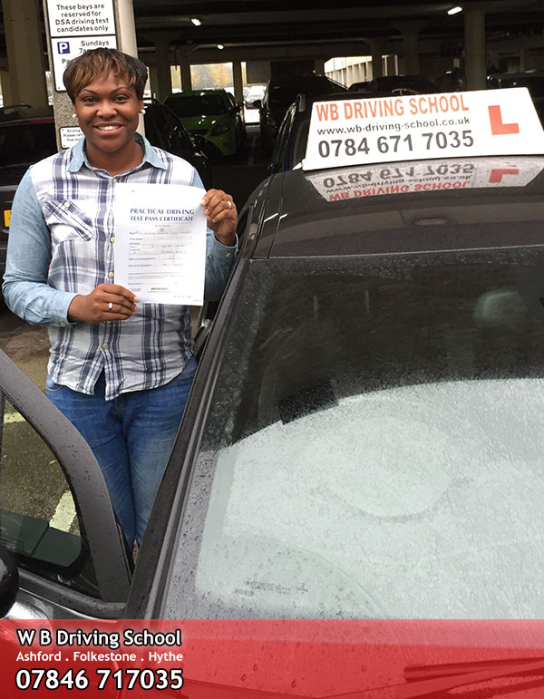 Dor passing her driving test in Ashford