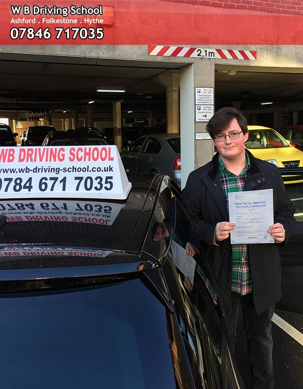 Andrew, well done passing driving test in Ashford!
