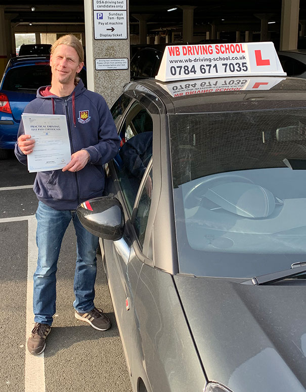 Well done Lee, another test pass in Ashford