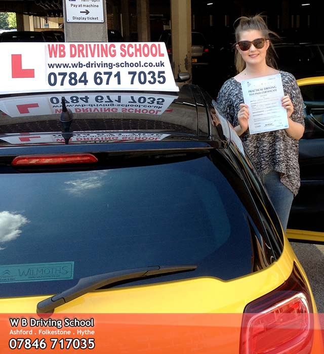 Jess passing her driving test